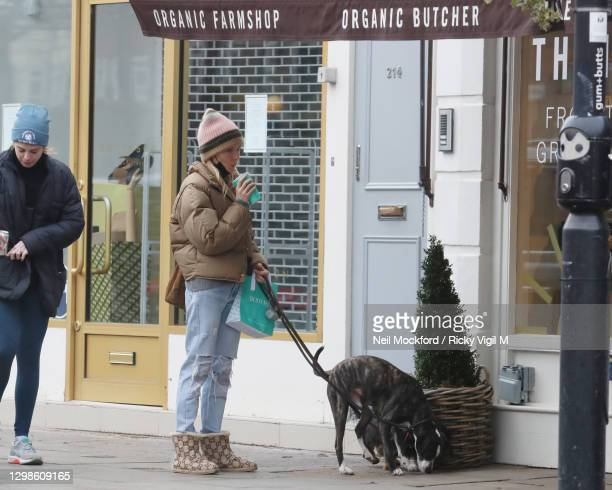 Sienna Miller seen walking her dogs outside Daylesford Organic farm shop in Westbourne Grove, Notting Hill on January 26, 2021 in London, England.
