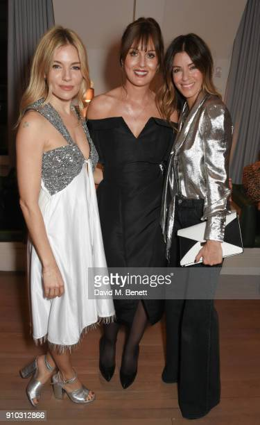 Sienna Miller, Teresa Tarmey and Sara Macdonald attend the launch of Teresa Tarmey's new 'at home facial system' at Mortimer House, sponsored by...