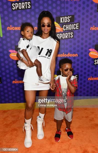 Sienna Princess Wilson Ciara and Future Zahir Wilburn attend the Nickelodeon Kids' Choice Sports 2018 at Barker Hangar on July 19 2018 in Santa...