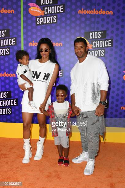 Sienna Princess Wilson Ciara Future Zahir Wilburn and NFL player Russell Wilson attend the Nickelodeon Kids' Choice Sports 2018 at Barker Hangar on...
