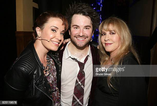 Sierra Boggess Alex Brightman and Stevie Nicks pose backstage as Stevie Nicks performs with the kid band at the hit musical based on the film School...