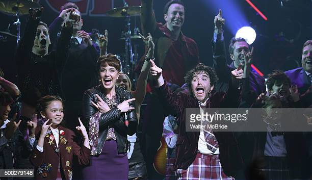 Sierra Boggess and Alex Brightman with cast during the Broadway opening night performance curtain call bows for 'School of Rock' at the Winter Garden...