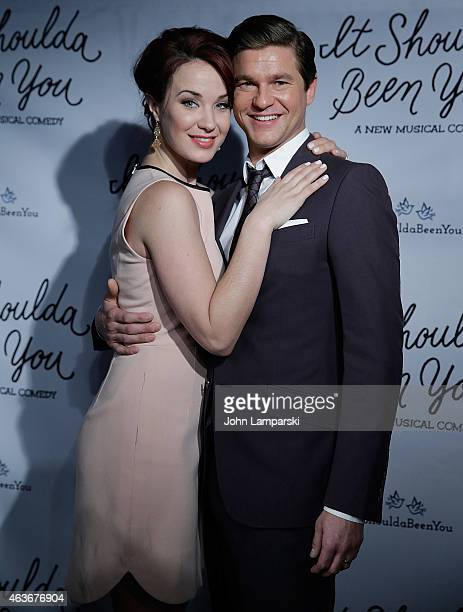 Sierra Boggess and David Burtka attend It Shoulda Been You Press Preview at Pronovias Flagship Store on February 17 2015 in New York City
