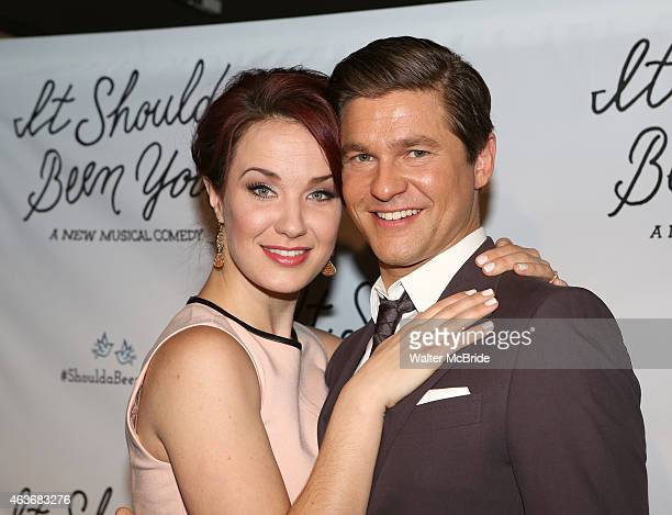 Sierra Boggess and David Burtka attend the sneak peek of the New Broadway Musical 'It Shoulda Been You' at Pronovias on February 17 2015 in New York...
