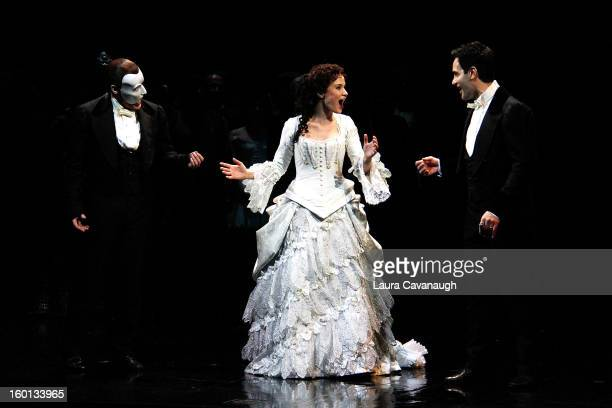 Sierra Boggess and Hugh Panaro attend The Phantom of the Opera attend The Phantom Of The Opera Broadway 25th Anniversary at Majestic Theatre on...