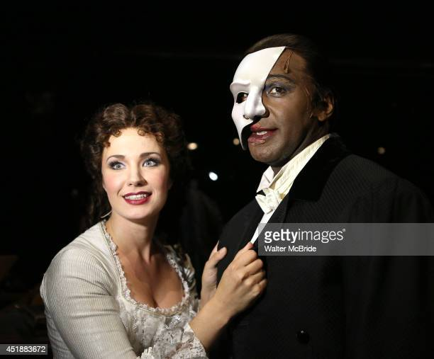 Sierra Boggess and Norm Lewis backstage at the Phantom Of The Opera 11000th Broadway Celebration at the Majestic Theatre on July 8 2014 in New York...
