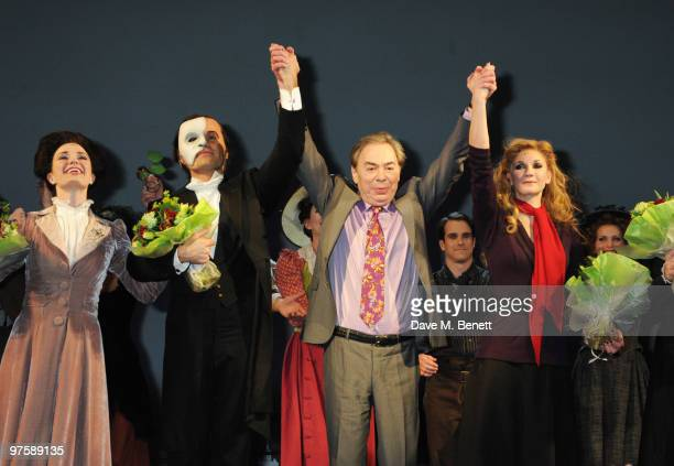 Sierra Boggess and Ramin Karimloo with Andrew Lloyd Webber on stage during the world premiere of Love Never Dies at the Adelphi Theatre on March 9...