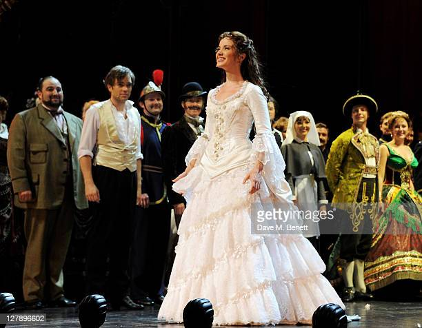 Sierra Boggess bows on stage during the 25th Anniversary performance of Andrew Lloyd Webber's 'The Phantom Of The Opera' presented by Cameron...