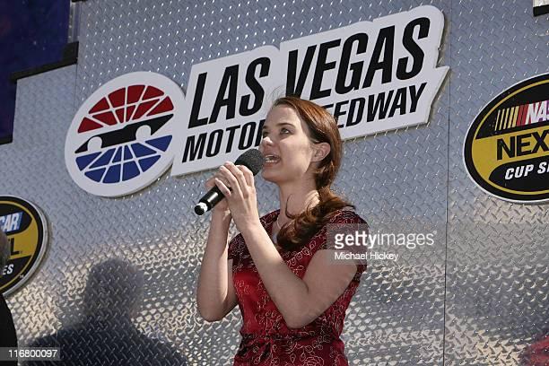 Sierra Boggess of the Las Vegas musical Phantom of the Opera sings the National Anthem prior to the UAW Daimler Chrysler 400 at the Las Vegas Motor...