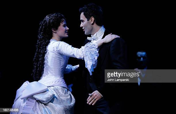 Sierra Boggess performs at 'The Phantom Of The Opera' Broadway 25th Anniversary at Majestic Theatre on January 26 2013 in New York City