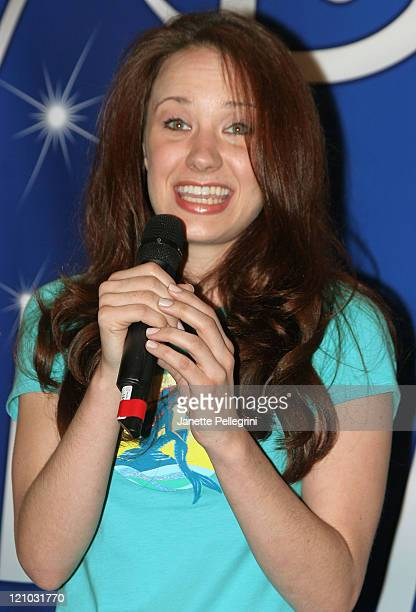Sierra Boggess performs at the The Little Mermaid Broadway Cast performance and CD signing on February 26 2008 at World of Disney in New York City
