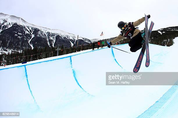 Sierra Bowman takes a practice run in the halfpipe during the 2017 US Freeskiing Grand Prix at Copper Mountain on December 13 2016 in Copper Mountain...