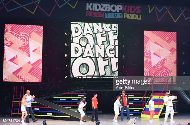 Sierra Brogmus Julianna Revilla Freddy Pomee and Isaiah Morgan of KIDZ BOP perform during the Dad Dance at The KIDZ BOP Kids 'Best Time Ever' Tour At...