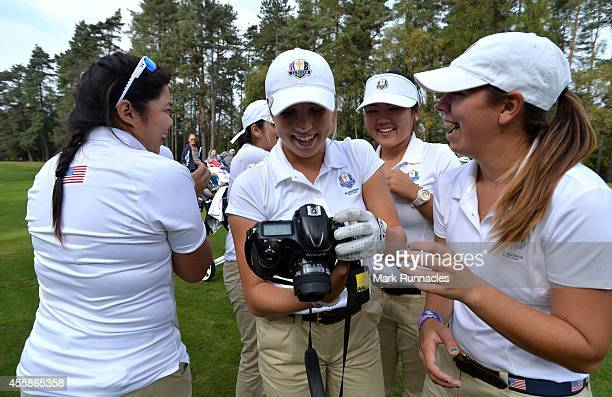 Sierra Brooks of Team USA borrows a camera for a Selfie with her teammates Amy Lee Andrea Lee Kristen Gillman Bethany Wu and Hannah O'Sullivan during...