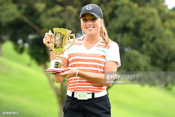 Sierra Brooks of United States of America poses with trophies after winning during the final round of the Century 21 Ladies Golf Tournament 2016 at...
