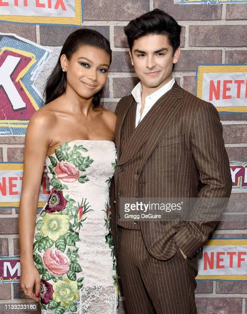 """Sierra Capri and Diego Tinoco arrive at the Premiere Of Netflix's """"On My Block"""" Season 2 at Petty Cash Taqueria on March 27, 2019 in Los Angeles,..."""