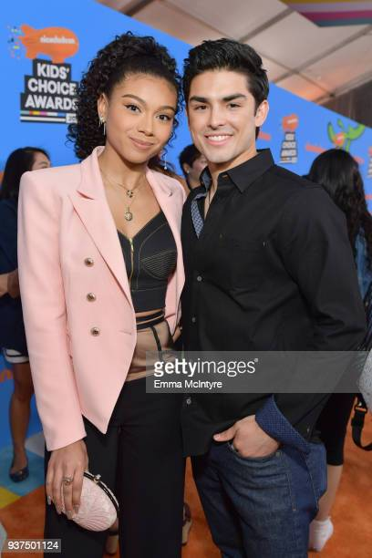 Sierra Capri and Diego Tinoco attend Nickelodeon's 2018 Kids' Choice Awards at The Forum on March 24, 2018 in Inglewood, California.