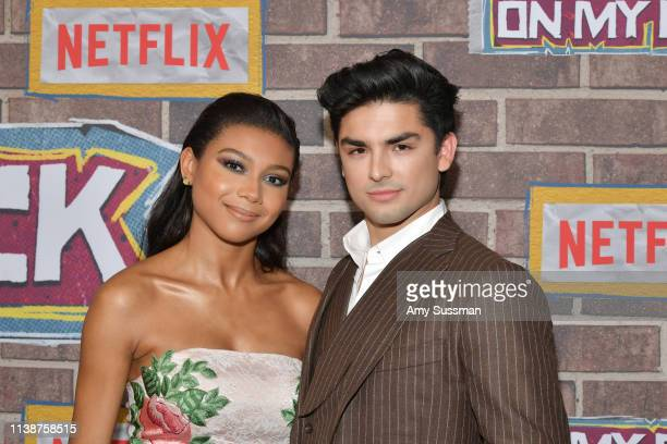 Sierra Capri and Diego Tinoco attend premiere of Netflix's On My Block Season 2 at Petty Cash Taqueria on March 27 2019 in Los Angeles California