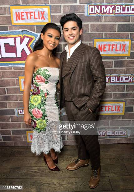 Sierra Capri and Diego Tinoco attend the 'On My Block' S2 Launch Event at Petty Cash Taqueria on March 27, 2019 in Los Angeles, California.