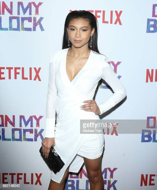 Sierra Capri arrives to the Los Angeles premiere of Netflix's On My Block held at NETFLIX on March 14 2018 in Los Angeles California
