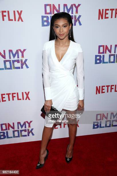 Sierra Capri attends the premiere of Netflix's On My Block at NETFLIX on March 14 2018 in Los Angeles California
