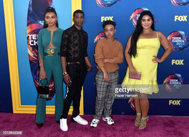 Sierra Capri Brett Gray Jason Genao and Jessica Garcia of On My Block attend FOX's Teen Choice Awards at The Forum on August 12 2018 in Inglewood...