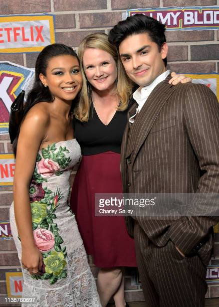 Sierra Capri, Lauren Iungerich and Diego Tinoco attend the 'On My Block' S2 Launch Event at Petty Cash Taqueria on March 27, 2019 in Los Angeles,...