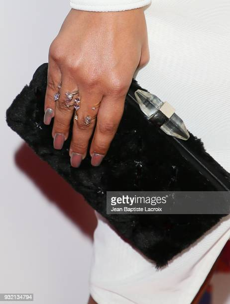 Sierra Capri rings details attends the premiere of Netflix's 'On My Block' on March 14 2018 in Los Angeles California
