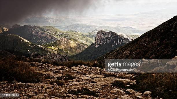 Sierra de Tramuntana mountains on Majorca under rain clouds