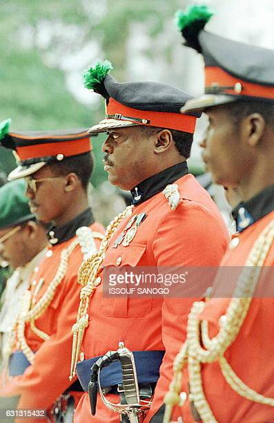 Sierra Leone junta leader, Major Johnny Paul Koroma attends special army remembrance day ceremonies 09 November in Freetown. Koroma was accompaied by...