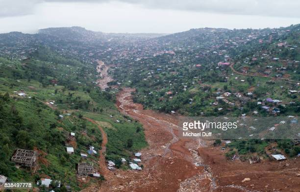 Sierra Leone Mudslide Downstream Drone Photo