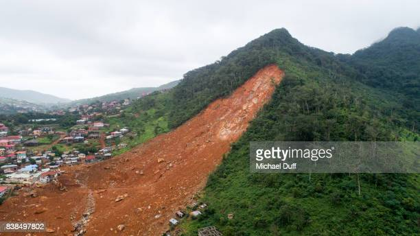 sierra leone mudslide drone aerial photo - landslide stock pictures, royalty-free photos & images