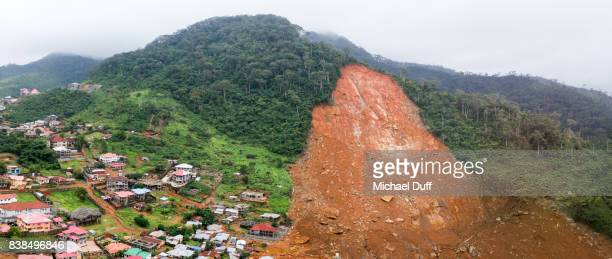 sierra leone mudslide panoramic drone aerial photo - landslide stock pictures, royalty-free photos & images