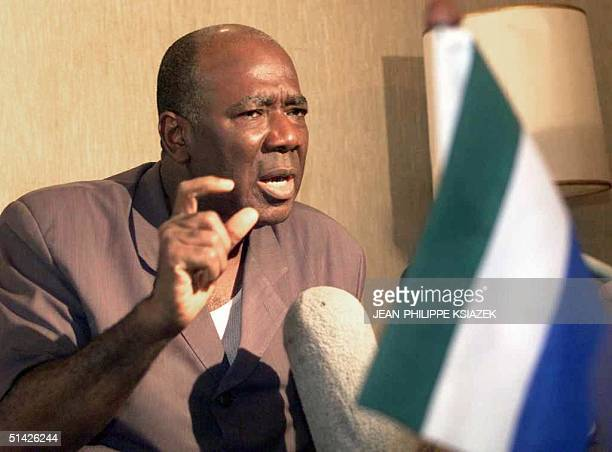 Sierra Leone President Ahmad Tejan Kabbah speaks at a press conference at Freetown' Lungi airport 07 January stating that he and rebel leader Foday...