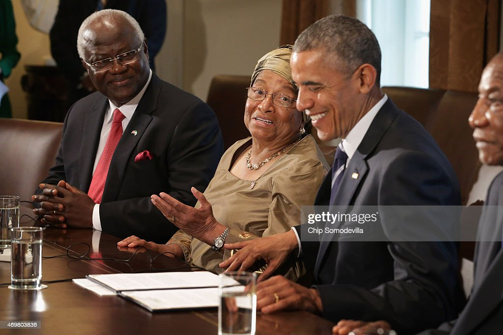 President Obama Meets With Meets With Leaders Of Liberia, Guinea, And Sierra Leone At The White House : Nachrichtenfoto