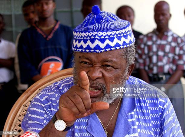Sierra Leonean rebel leader Foday Sankoh speaks at a press conference 05 May 2000 in Freetown Sankoh said that UN peacekeepers had taken refuge at a...
