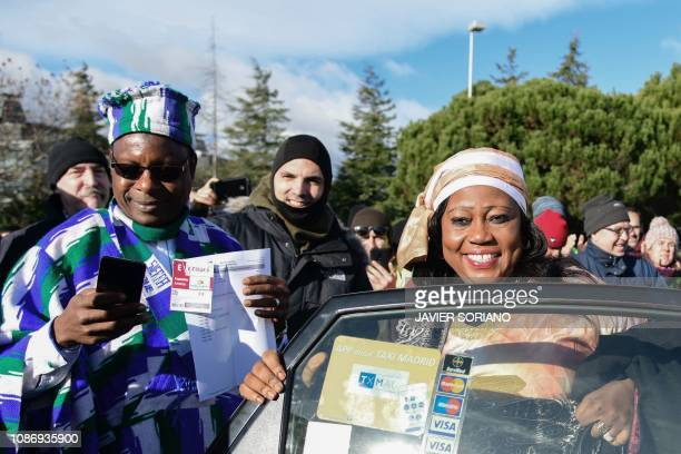 Sierra Leone's Minister of Tourism and Cultural Affairs Memunatu Pratt arrives by taxi at the congress centre IFEMA on the first day of the...