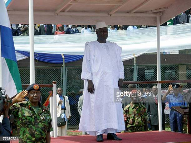 Sierra Leone's newly elected President Ernest Bai Koroma stands on a podium during his investiture ceremony 15 November 2007 in Freetown Koroma a...