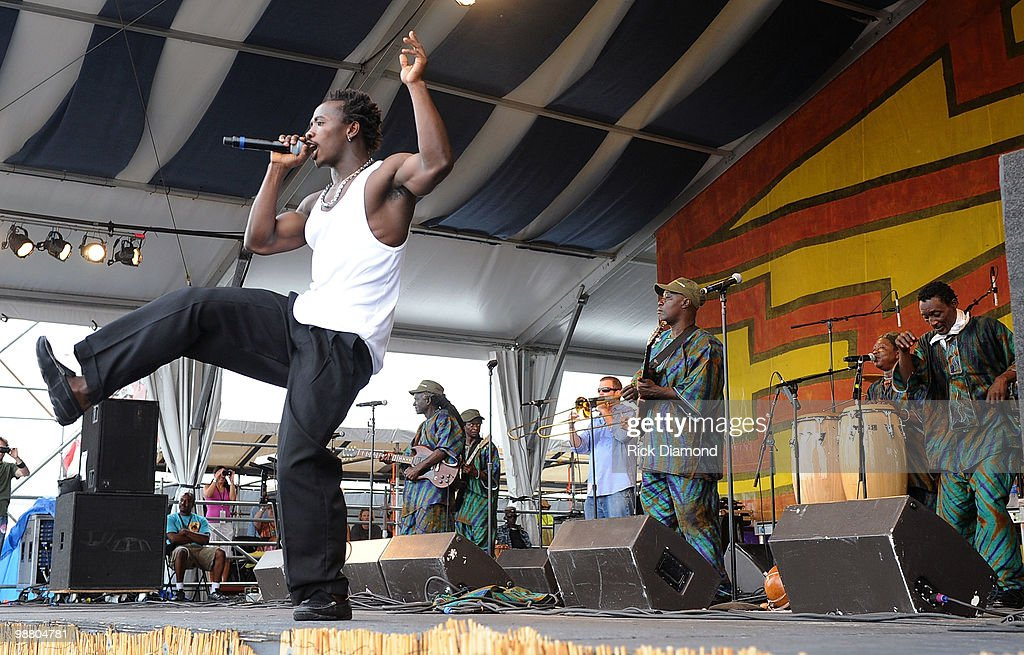 Sierra Leone's Refugee Allstars perform at the 2010 New Orleans Jazz & Heritage Festival Presented By Shell - Day 7 at the Fair Grounds Race Course on May 2, 2010 in New Orleans, Louisiana.