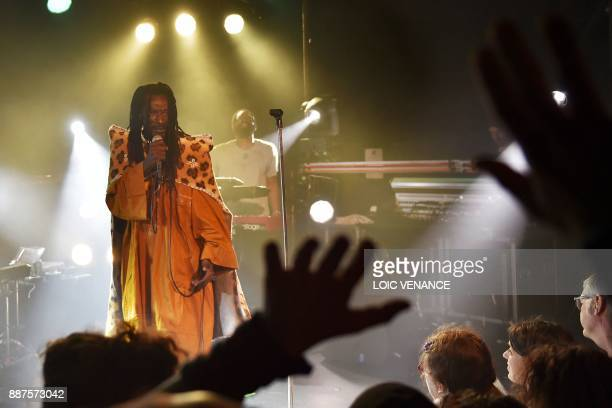 Sierra Leone's singer Janka Nabay performs onstage on December 6 2017 at the Ubu music hall in Rennes as part of the 39th edition of the Trans...