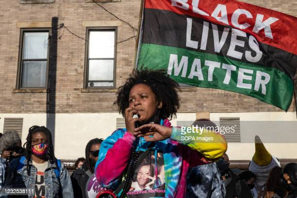 Sierra Mason leads conversation on during a protest against the police killing of Ma'Khia Bryant. Black Lives Matter activists gathered with some...