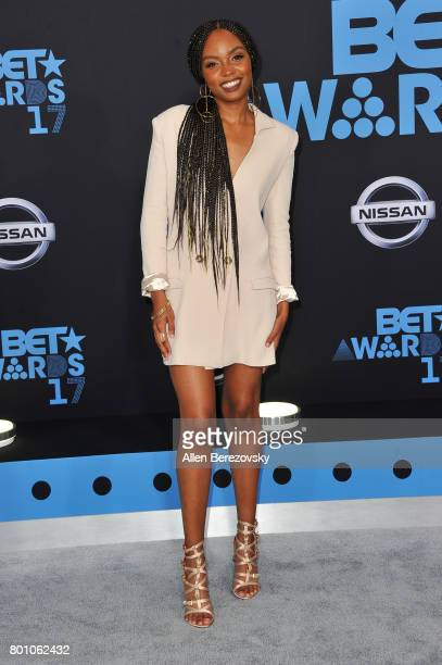 Sierra McClain arrives at the 2017 BET Awards at Microsoft Theater on June 25 2017 in Los Angeles California