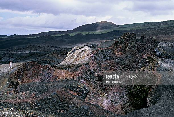 sierra negra volcano, fumarole. isabella island. galapagos islands - ed reschke photography stock photos and pictures