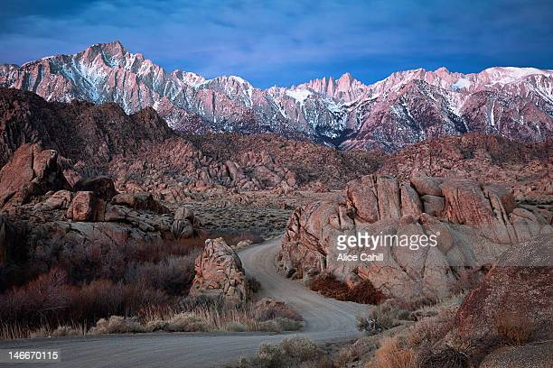 sierra nevada mountains at skyline - alabama hills stock photos and pictures