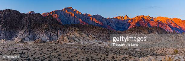 sierra nevada with alpine glow - alabama hills stock photos and pictures