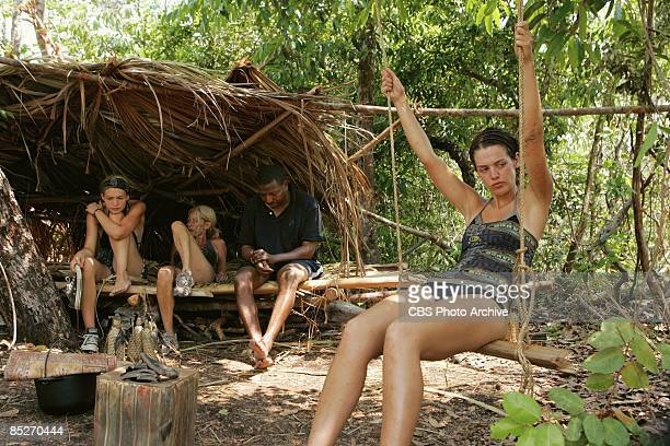 Sierra Reed Debra quotDebbiequot Beebe Jerry Simms and Erinn Lobdell of the quotTimbiraquot during the second episode of SURVIVOR TOCANTINS THE...