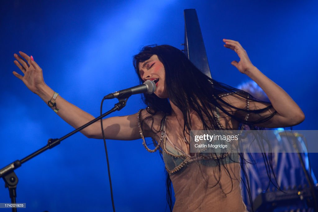 Sierra 'Rosie' Casady of CocoRosie performs on stage on Day 4 of Latitude Festival 2013 at Henham Park Estate on July 21, 2013 in Southwold, England.