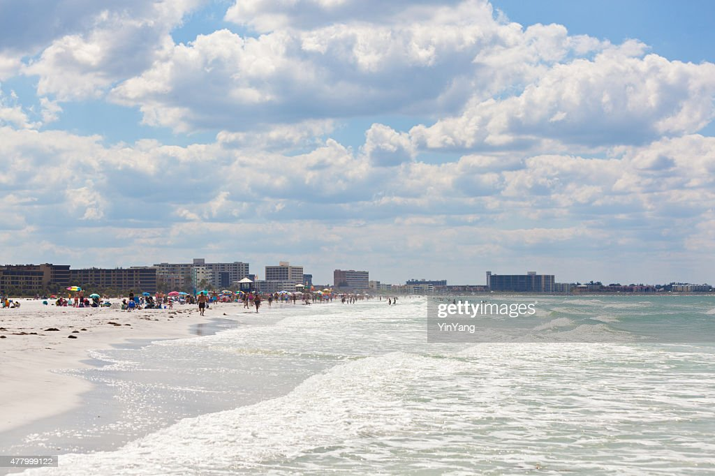 Siesta Key Beach of Florida Gulf Coast with Tourists Sunbathers : Stock Photo