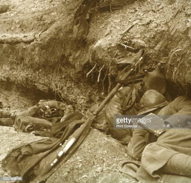 Siesta Verdun northern France 1916 Three French soldiers find shelter for some sleep Two of the soldiers or 'Poilus' as the bulk of the French...