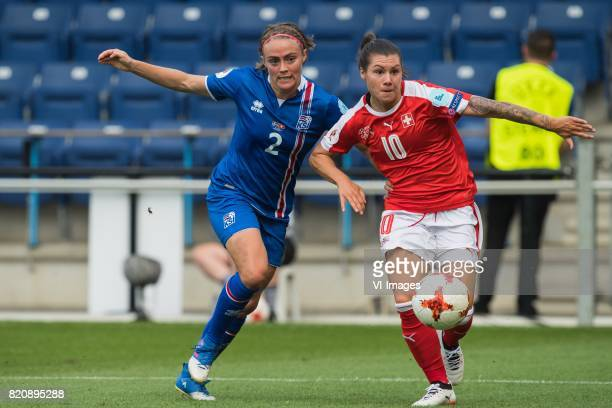 Sif Atladottir of Iceland women Ramona Bachmann of Switzerland women during the UEFA WEURO 2017 Group C group stage match between Iceland and...